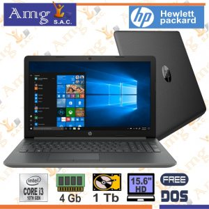 LAPTOP HP 15-DW2048LA i3 1005G1 1.2Ghz. hasta 3.4Ghz, Pant.15.6″ HD LED 1366 X 768, Memoria 4Gb. Ddr4 2666m, Disco 1Tb.