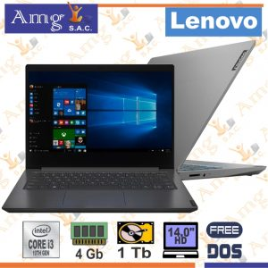 Laptop LENOVO V14-iiL, Procesador  intel Core i3 1005G 1.2Ghz. 4M. CACHE 14″ LED HD 1366 X 768, MEMORIA DDR4 4Gb, Disco mecanico 1Tb.