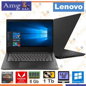 LAPTOP LENOVO idea S145-14API Reyzen 5 3500U 2.1Ghz. 4M. Video Radeon Vega 8, Pantalla 14″ LED HD 1366 X 768, MEMORIA DDR4 8Gb, Disco Mecanico 1Tb.