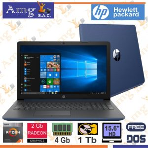 Laptop HP 15-DB1044LA Reyzen 3 3200U 2.60Ghz. Hasta 3.5Ghz. 5M. Cache, Pantalla 15.6″ LED HD 1366 X 768, Memoria 8Gb. ddr4, Disco 1Tb, Video Grafico AMD Radeon 2Gb.