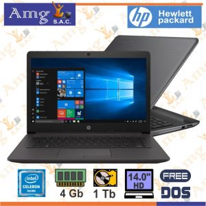 LAPTOP HP 240 G7 Procesador intel CELERON N4100 1.10Ghz, Memoria ddr4 4Gb, Disco Duro 1Tb 5,400 rpm, Pantalla 14″ 1920 x 768 HD
