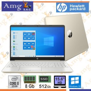 LAPTOP HP 15-DY1005LA i5 1005G1 1.0Ghz. hasta 3.6 Ghz TBoot 4M Cache  Pantalla 15.6″ HD LED 1366 X 768p, Memoria 8Gb. ddr4 2666Mhz, Disco Solido 512Gb. SSD, Windows 10 Home.