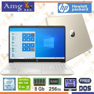 LAPTOP HP 15-DW0004LA i7 8565U 1.8Ghz, 8M Cache  Pantalla 15.6″ FHD LED 1920 X 1080, Memoria 8Gb. ddr4 2666Mhz, Disco Solido 256Gb. Video Nvidia MX130 2Gb. Gddr5, Windows 10 Home.